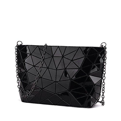 Paquete De Bolso De Hombro Irregular Geométrico De Diamante De La Mujer,Black Black