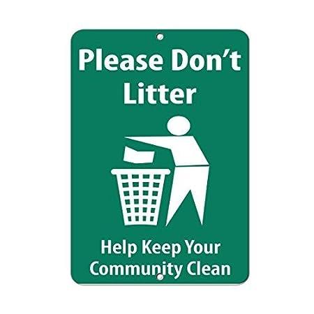 wennuna aluminum metal sign please don t litter help keep your