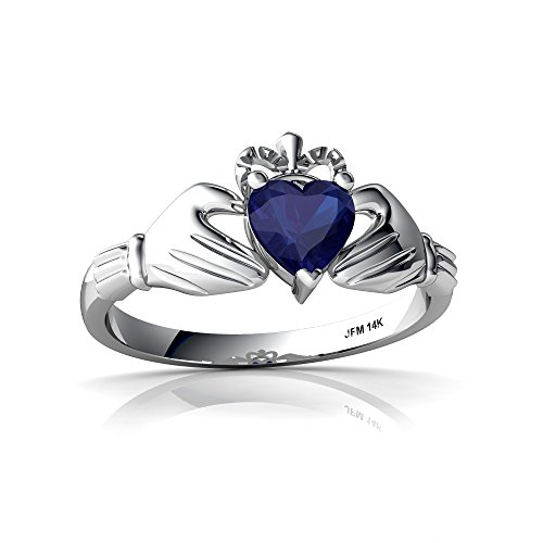 14kt White Gold Lab Sapphire 5mm Heart Claddagh Ring - Size 8