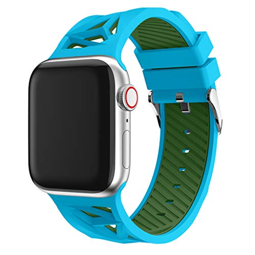 Haluoo Compatible with Apple Watch Band 42mm 44mm, Soft Silicone Sport Replacement Bands Lightweight Breathable Wristband Strap for iWatch Apple Watch Series 4/3/2/1 42/44mm Men Women (Blue)