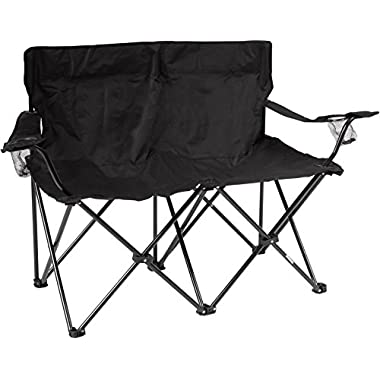 Trademark Innovations 31.5 H Loveseat Style Double Camp Chair with Steel Frame, Black