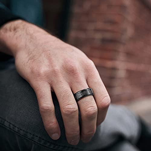 TIGRADE Mens 8mm Black Titanium Rings Black silk Stickers Inlay Wedding Band Beveled Edges Size 7-13, Size 10