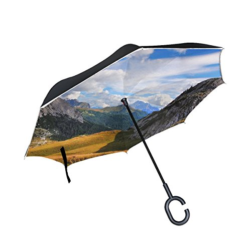 RH Studio Inverted Umbrellar Mountains Dolomites Italy South Tyrol Large Double Layer Outdoor Rain Sun Car Reversible Umbrella by RH Studio