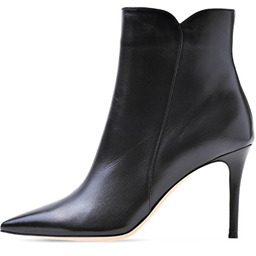 8cm Mid Heel Stiletto Heel ELASHE High Fashion Ankle Boots Black Women Mid Ankle Ankle Pointy Toe Boots Women's Boots Stilettos BgSpq