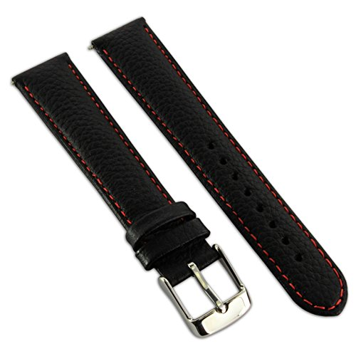 (Jewellers Tools Adult 22 MM Genuine Buffalo Grain Leather Watch Strap Band Buckle Black/Red)