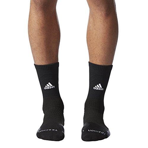 adidas Traxion Menace Basketball/Football Crew Socks (1-Pack), Black/White/Onix/Dark Grey, Medium