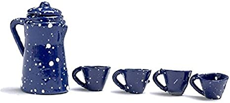 MINIATURE METAL BLUE SPATTERWARE COFFEE POT AND CUPS
