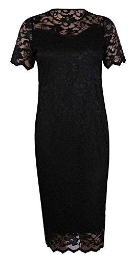 FEMMES rond midi MANCHES taille ample dentelle florale Bodycon Noir extensible feston bord COURTES doubl encolure FEMMES Robe ronde WEFqCnCx