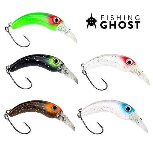 FISHINGGHOST GHOSTY Trout Wobbler Set - Size 1.6 inch, Weight: 0.05oz, Trout Bait, Trout Spoons, Trout Blinker, Trout Bait for Fishing for Trout, Char and Perch - Spin Fishing (5X) ()
