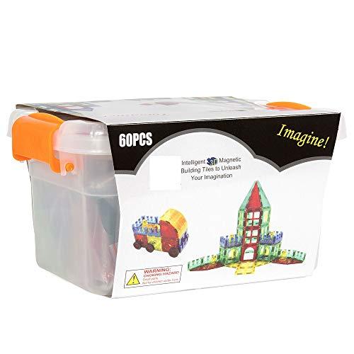 Alek...Shop Educational Construction Toys Magnetic Building Kids 60Piece Tiles Toy Set w/ Carrying Case Multicolor by Alek...Shop (Image #4)