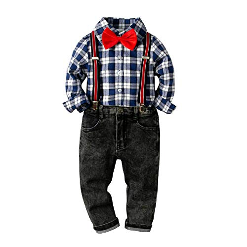 Baby Boys Fashion Gentleman Pants Clothing Set Long Sleeves Shirt+Suspender Colorful Pants+Bow Tie Toddler 4Pcs Set (White+Blue Plaid, 2-3T/90)