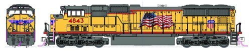 EMD SD70M w/Flared Radiators - Standard DC -- Union Pacific #4843 (Armour Yellow, gray; Red Frame Stripe, U.S. Flag) Kato 176-8609