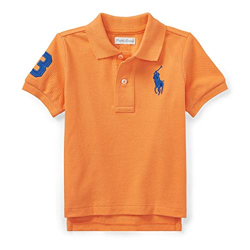 Ralph Lauren Baby Boy Big Pony Cotton Mesh Polo Shirt, Orange, 18 Months