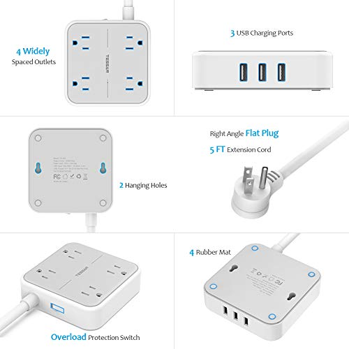 Power Strip with USB, TESSAN Mountable Flat Plug Extension Cord with 4 Widely Spaced Outlets, 3 USB Charger, 5 FT Power Cord, Compact Size Charging Station for Home, Office, Dorm Essentials, Gray