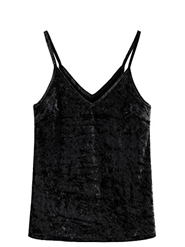 (SheIn Women's Casual Basic Strappy Velvet V Neck Cami Tank Top Large Black)