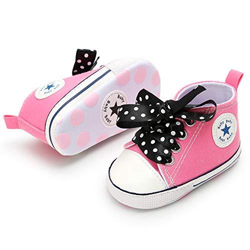 3-18 Months Unisex Baby Boys Girls Star High Top Sneaker Soft Anti-Slip Sole Newborn Infant First Walkers Canvas Polka Dots -