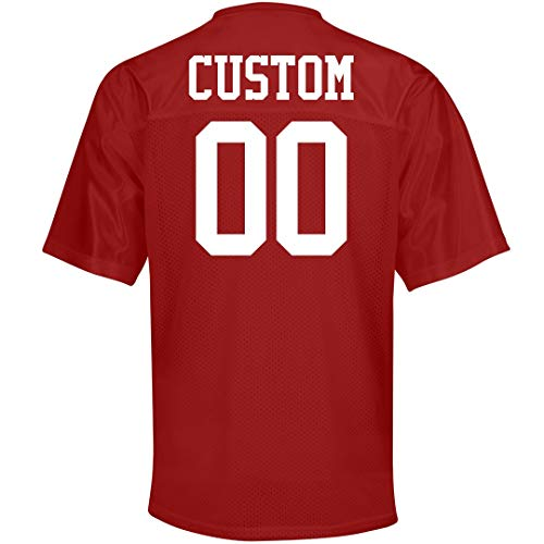 Custom Name Number Mesh Football Jerseys: Unisex Mesh Football Jersey True Red