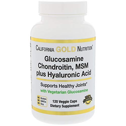 - California Gold Nutrition Glucosamine Chondroitin MSM Plus Hyaluronic Acid 120 Veggie Caps, Milk-Free, Fish-Free, Gluten-Free, Peanut Free, Treenut Free, Shellfish Free, Soy-Free, Wheat-Free, CGN