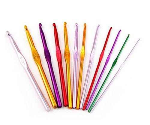 Ostart 12 Sizes Multi-color Aluminum Crochet Hooks Knitting Kits Needles (3mm - 10mm)