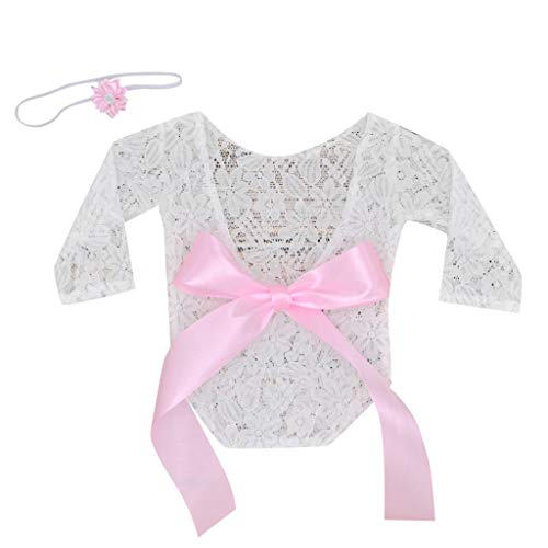 Newborn Infant Baby Girl Boy Photography Props Lace Bow Romper Bodysuit Clothes - Panties Barbie Cotton