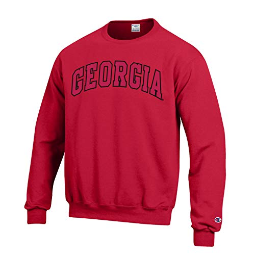 Champion NCAA Men's ECO Power Blend Crew Sweatshirt with Tackle Twill Embroidered Lettering-Georgia Bulldogs-Red-Large