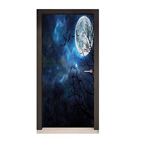 Halloween Door Sticker Bats Flying in Majestic Night Sky Moon Nebula Mystery Leafless Trees Forest Decor Door Mural Blue Black White,W23xH70]()