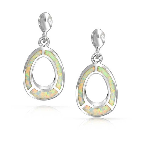 Geometric Open Oval Inlay White Created Opal Dangle Earrings For Women For Teen 925 Sterling Silver October Birthstone