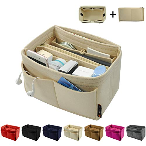 Purse Organizer Insert, Bag Organizer, Handbag & Tote Organizer, Perfect for Speedy Neverfull and More,Beige Large