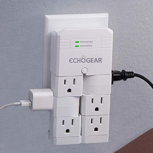 (ECHOGEAR On-Wall Surge Protector with 6 Pivoting AC Outlets & 1080 Joules of Surge Protection - Low Profile Design Installs Over Existing Outlets to Protect Your Gear & Increase Outlet Capacity)