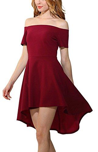 Cocktail Rosso Maniche Vino Convenzionale Con Abito Casuale Partito Amstt Del Delle Spalla Corte Da Dalla Donne a4TIAq