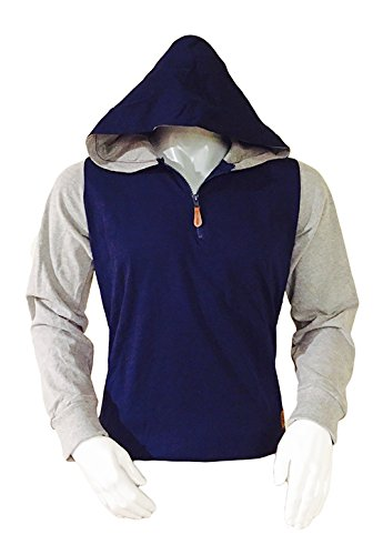 URBAN ATTITUDE Mens Half Zip Fleece Hoody Small Navy (Attitude Fleece Hoodie)