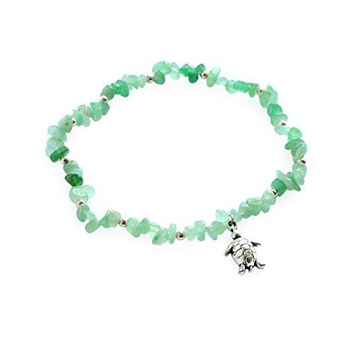 Me&Hz Silver Charming Turtle Beach Ankle Bracelet Handmade Healing Stones Beaded Foot Jewelry for Women