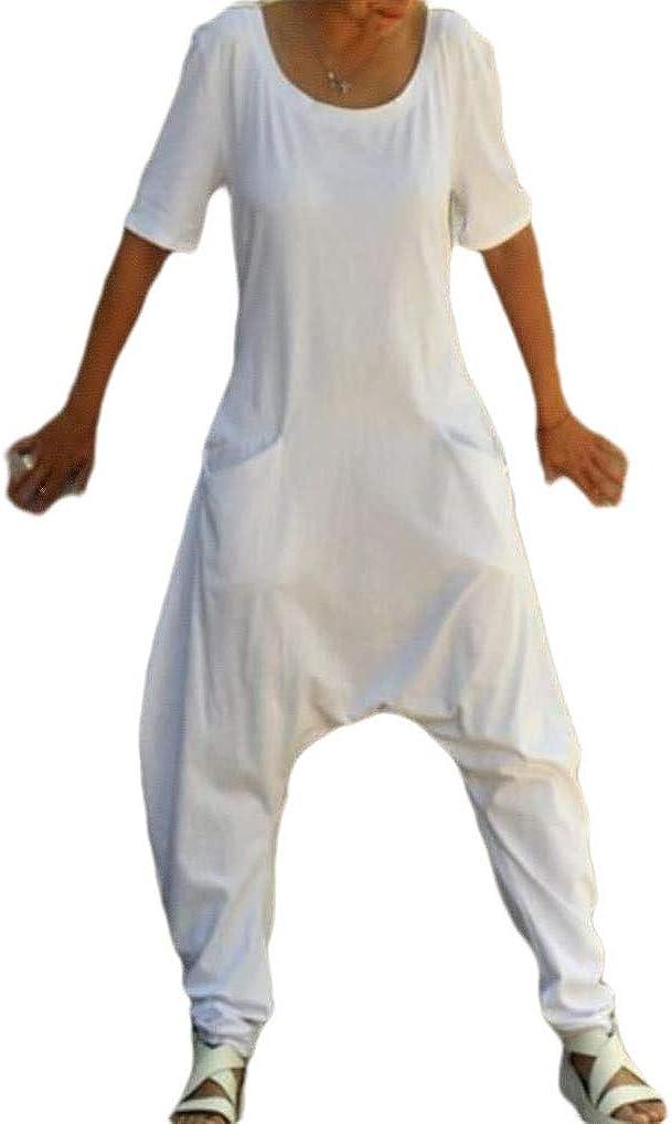 HEFASDM Womens Solid Pocket Short Sleeve Simple Harem Jumpsuits Romper