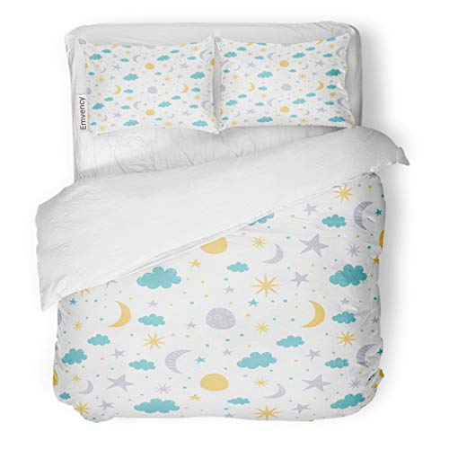 Semtomn Decor Duvet Cover Set Full/Queen Size Pattern Moon Cloud and Stars Children on Baby Sleep 3 Piece Brushed Microfiber Fabric Print Bedding Set Cover -