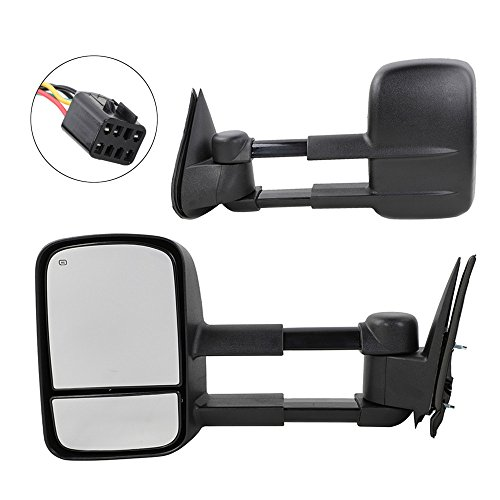 Chevy Tow Mirrors for 1999 2000 2001 2002 Chevrolet GMC Silverado Sierra 1500 2500 3500 Tahoe Yukon Pickup Power Heated Towing Mirrors Pair Manual Telescoping Side Mirrors