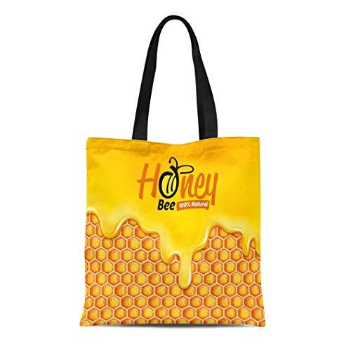 Semtomn Canvas Tote Bag Shoulder Bags Liquid Yellow Splash Honey Drop Bee Juice Drip Caramel Women's Handle Shoulder Tote Shopper Handbag