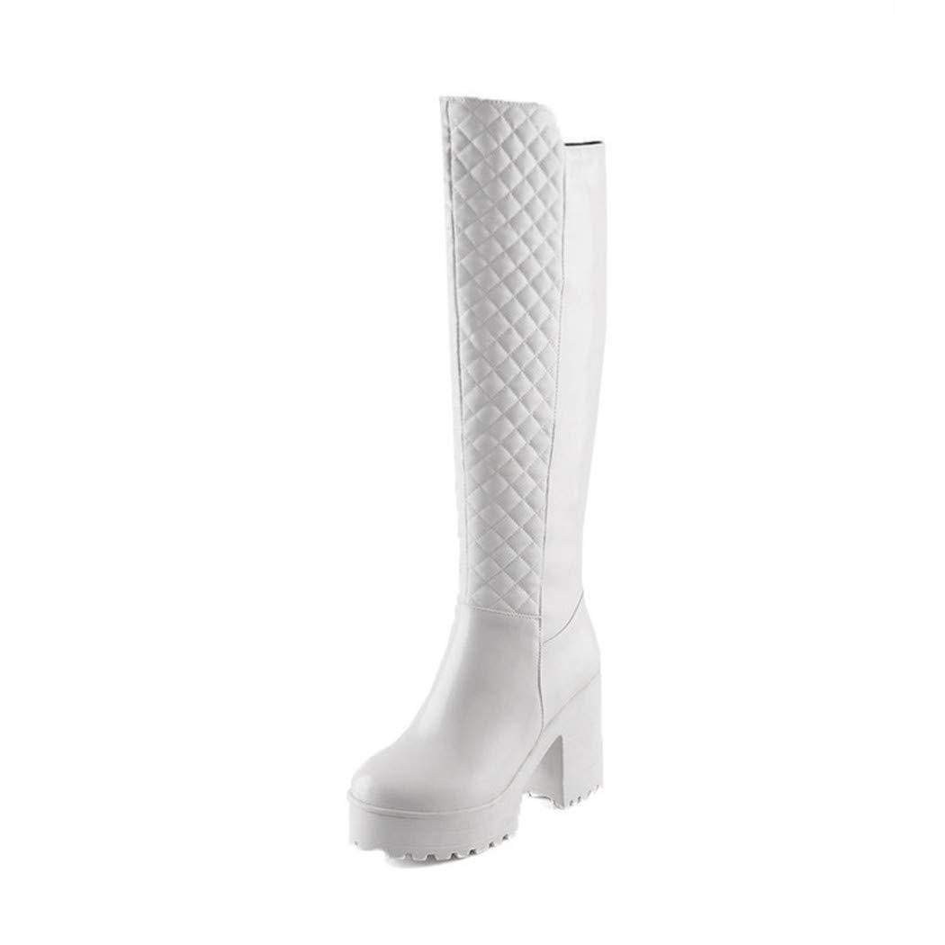 BNXXINGMU Winter Frauen Snow Stiefel Stiefel Stiefel Square High Heel Pu Stiefel Casual Plattform Punk Schuhe 8768a7
