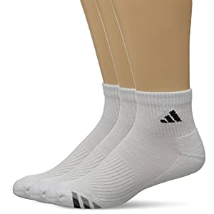 adidas Men's Cushion Quarter Socks (Pack of 3), White/Black/Granite/Light Onix, Large fits shoe size 6-12