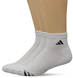 adidas Men\'s Cushion Quarter Socks (Pack of 3), White/Black/Granite/Light Onix, Large fits shoe size 6-12