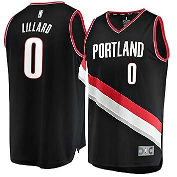 NBA Blazers Lillard 0 Fan Men Jersey Hombres (Negro, XXL)