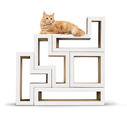 KATRIS Bundle of 5 Blocks | Modular | Multi-Functional | Cat Tree Condo Furniture System   Pre-Attached White MONO Covers by KATRIS