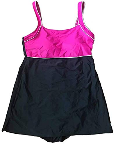 (Speedo Women 's Endurance + acuáticas Piped Swimdress (Pink/Black) (6))