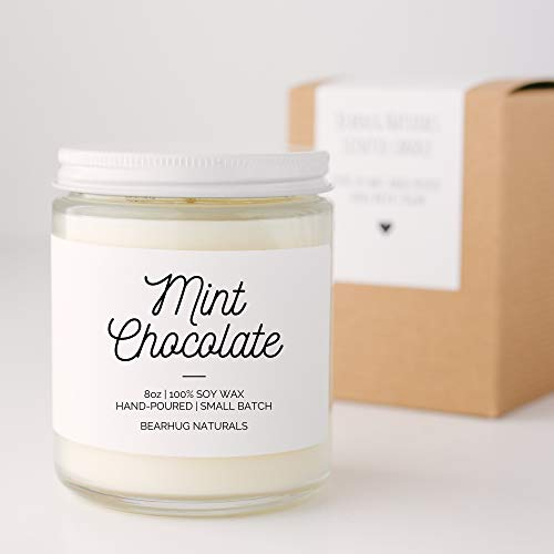 (Mint Chocolate Hand-poured Soy Candle Fall Winter Holiday Scent Vegan Eco-friendly)