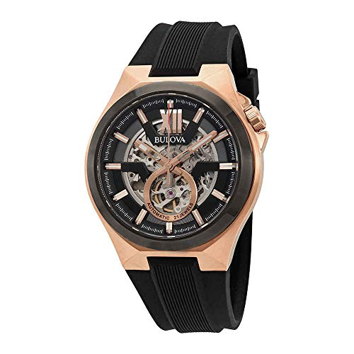Bulova Men's Stainless Steel Automatic-self-Wind Watch with Silicone Strap, Black, 27 (Model: 98A177) ()