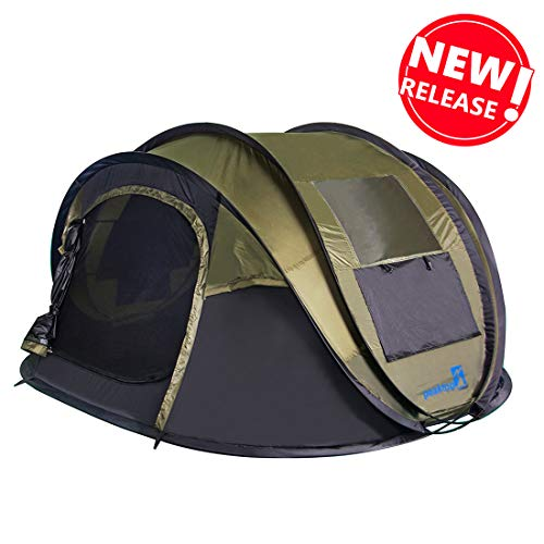 Peaktop 2019 New 4 Person Automatic Pop up Camping Tent, Waterproof Lightweight Dome Tent - with Vents, Mesh Doors and Windows - for Camping,Hiking, Backpack and Beach Green