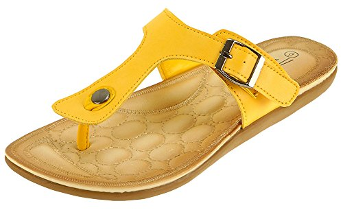 Cambridge Select Femmes Slip-on Boucle Tong Plat Sandale Jaune