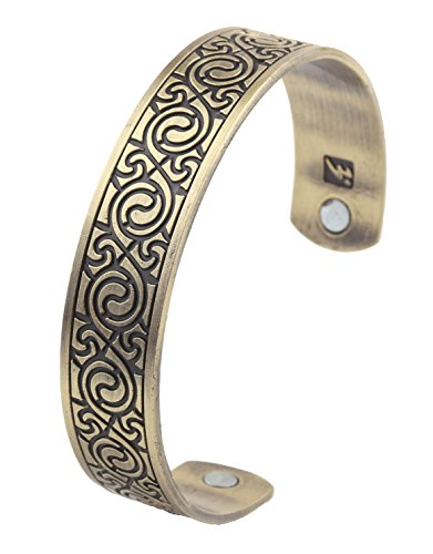 Health Care Magnetic Bracelet Retro Ethnic Style Viking Cuff Wristband Bangle for Men (Antique Bronze) by My Shape