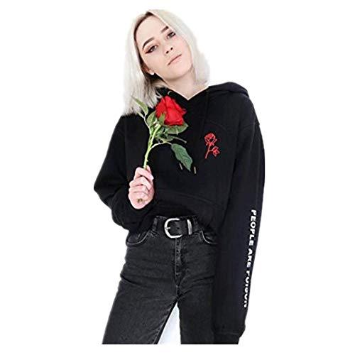 Kulywon Women Sleeve Embroidery Rose Hoodie Sweatshirt Blouse (Rose Fish Knife)