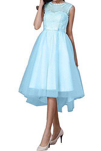 Rund Romantisch Tuell Cocktailkleider 2017 Weiss Lo Promkleider Abendkleider Blau Damen Ivydressing Band Spitze Hi RqggI