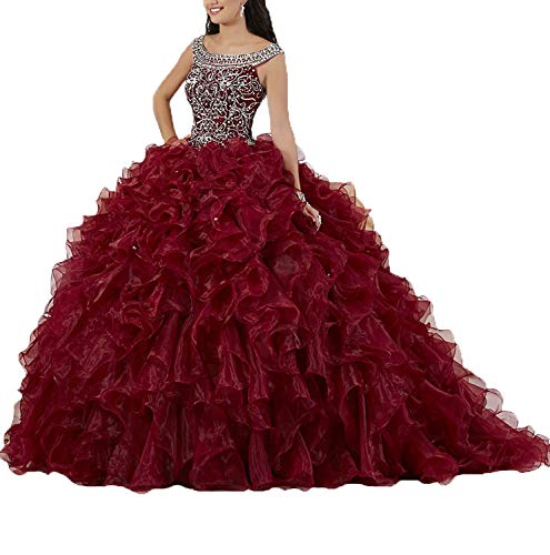 Graceprom Women's Puffy Beaded Crystal Quinceanera Dresses Ball Gown Sweet 16 Dresses 8 Burgundy